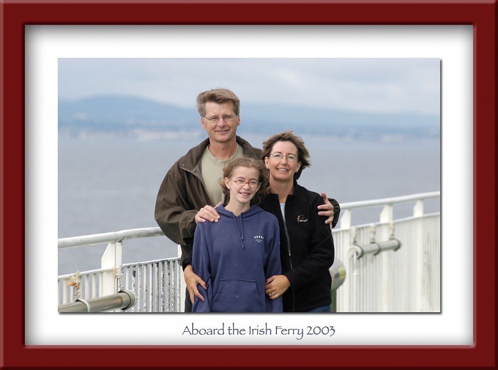 Peter, Diane and Alison aboard the Irish Ferry