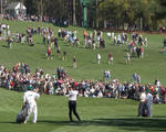 O'Meara and Tiger hitting to 9th Green
